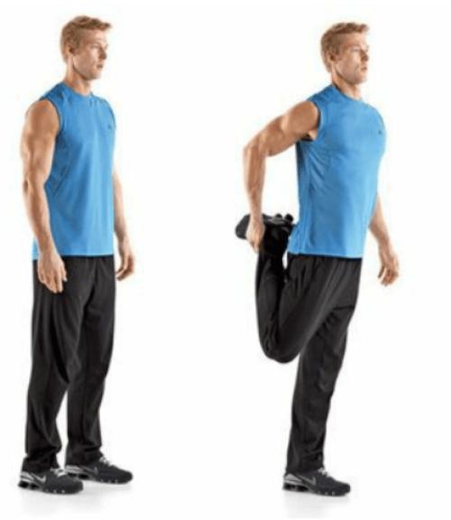 rozciąganie dynamiczne mięśni czworogłowych uda