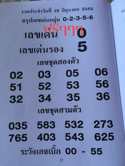 เลขเด็ด เด่นที่สุด 16 มิถุนายน 2563