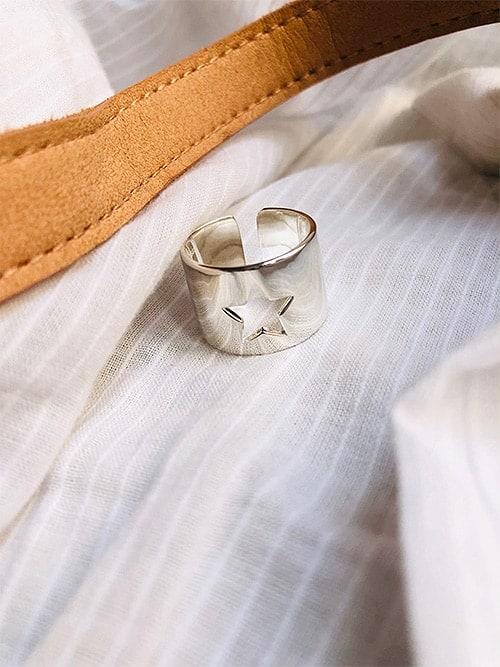 Photo Bague ouverte Etoile ajourée 925grammes.com