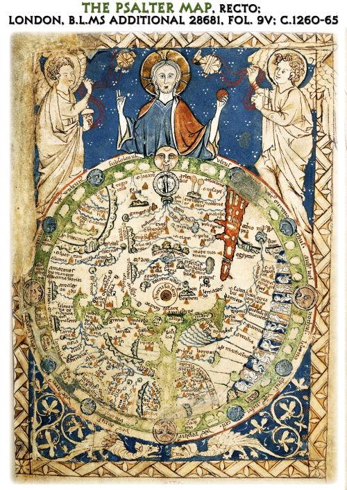 El mapa mundial del Salterio muestra a Jesús bendiciendo al mundo