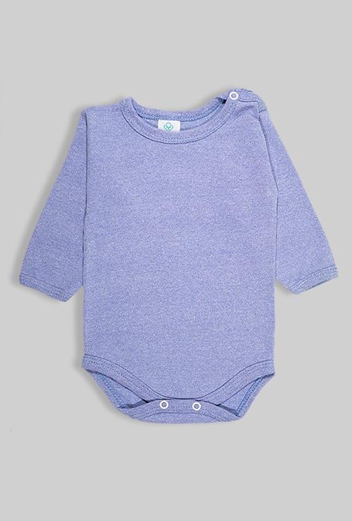 רביעיית בגדי גוף פלנל - חלק - כחול שחור (0-2.5 שנים)