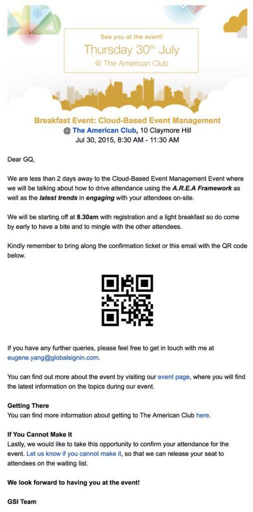 QR code event reminder example
