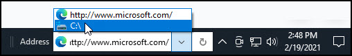 Address toolbar area on Windows taskbar.