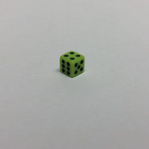 6 Vlakken Dobbelsteen Licht Groen met Zwarte Stippen 8mm
