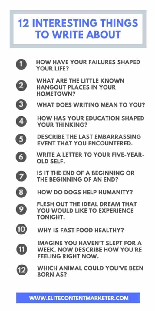 12 interesting things to write about
