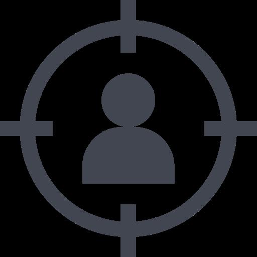 Das Bild zeigt einen Kreis um eine Person. Das Icon steht für die Tiny House Bauherrn, als Zielgruppe