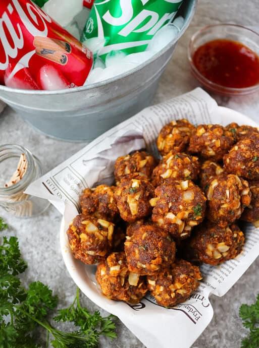 Keto Spicy Chorizo Balls Recipe for the holidays.