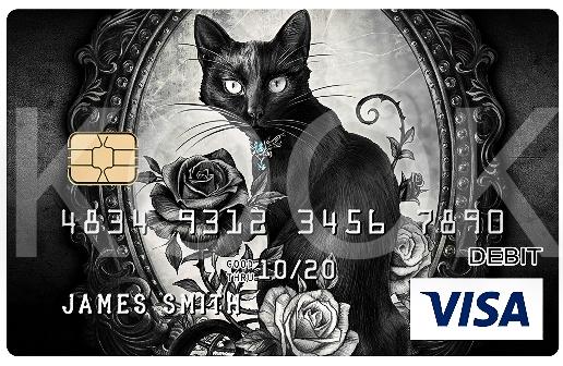 Mustakissa - Urban Rock henkiset pankkikortit erottuvat! Kook Management edustaa Alchemy Englandin kuvitus gallerioita ja yli 800 kuvateosta. #Bankcard #luottokortti #pankkikortti #debitkortti