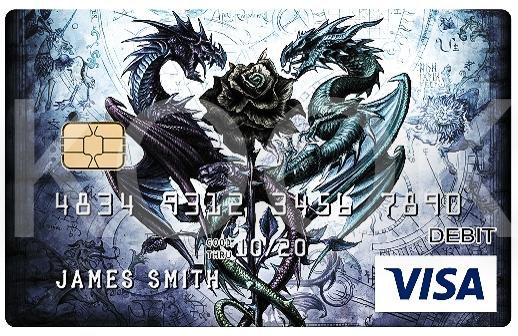 musta ruusu ja lohikäärmeet - Urban Rock henkiset pankkikortit erottuvat! Kook Management edustaa Alchemy Englandin kuvitus gallerioita ja yli 800 kuvateosta. #Bankcard #luottokortti #pankkikortti #debitkortti