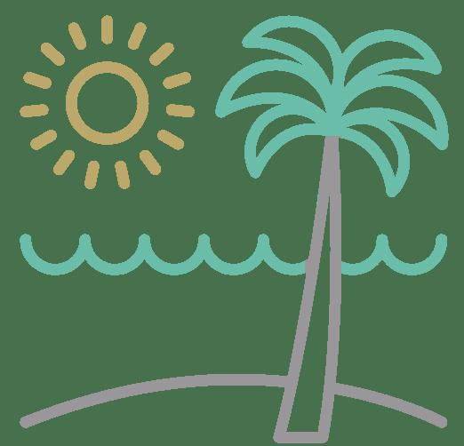 icono playa gris y verde
