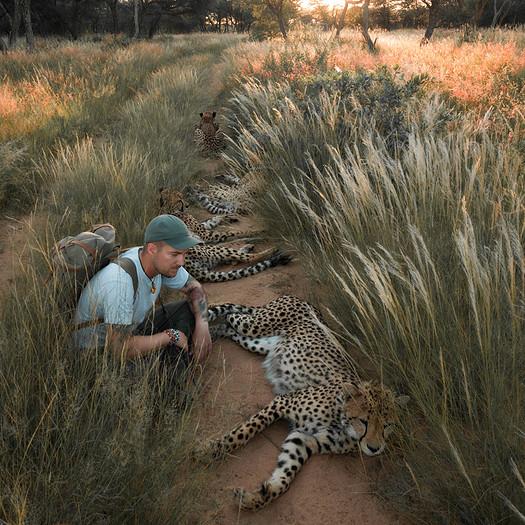 Sebastian Hilpert mit Geparden