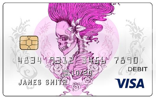 Pankkikortti ja Pinkki luuranko ja pääkallo - Urban Rock henkiset pankkikortit erottuvat! Kook Management edustaa Alchemy Englandin kuvagallerioita ja yli 800 kuvateosta. #Bankcard #luottokortti #pankkikortti #debitkortti