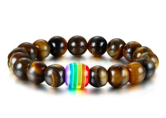 Perles de chakra marron foncé avec détail arc-en-ciel