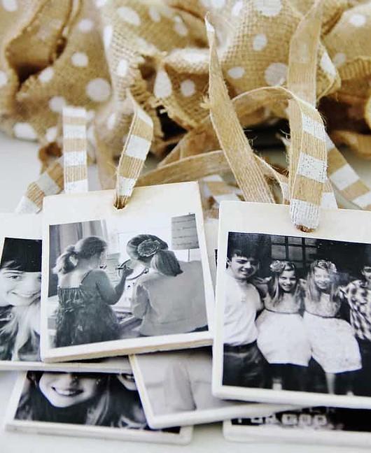 Adding photos to the wreaths