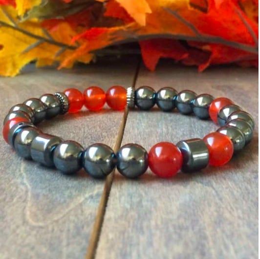 Bracelet Chakra Argent Et Rouge
