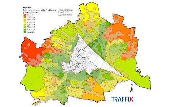 Karte zur ÖV Erschließung in Wien