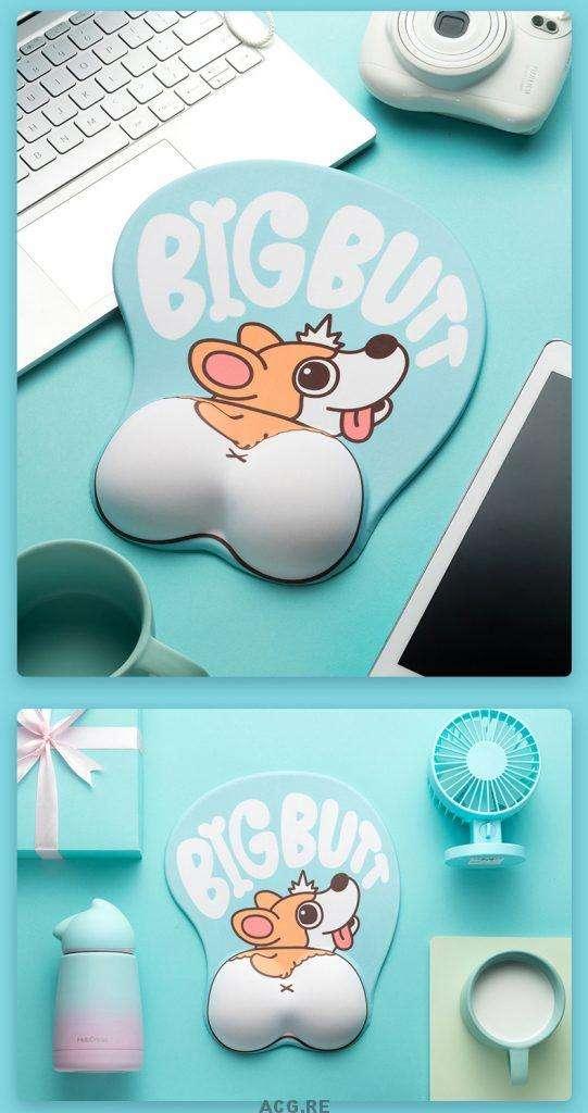 Light Blue Welsh Corgi Mouse Pad Corgi Light Blue Mouse Pad Cute Mouse Pad With Wrist Rest (3)