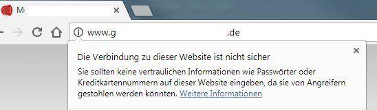 Anzeige Chrome Browser ohne SSL SSL Webseiten Verschlüsselung