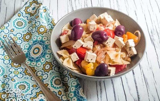 Greek Pasta Bowl with Tofu Feta