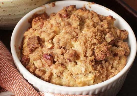 Apple muffin in ramekin cinnamon streusel topping