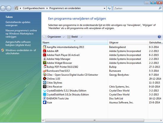 De lijst met software op mijn computer. Selecteer een programma om dit te verwijderen.