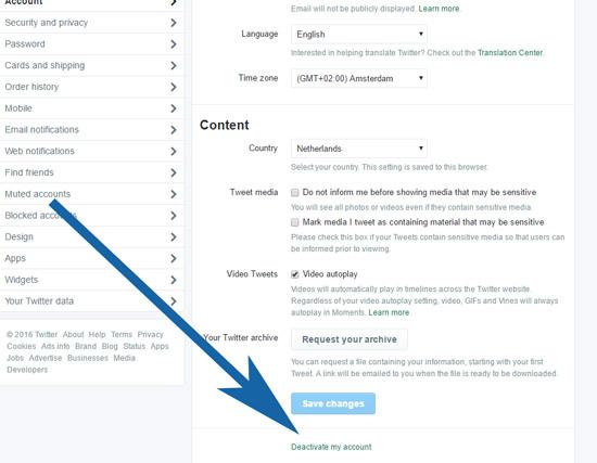 Kies na het inloggen op Twitter in je account voor de optie 'Deactivate account'.