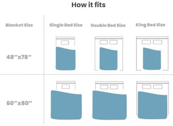 Image shows the Kalm Koala size guide.