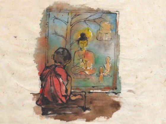 Dormire in monastero buddista in Nepal disegno di Luca Braidotti