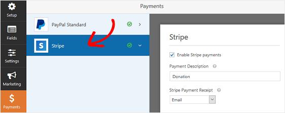 WPForms: impostazioni per il pagamento tramite Stripe
