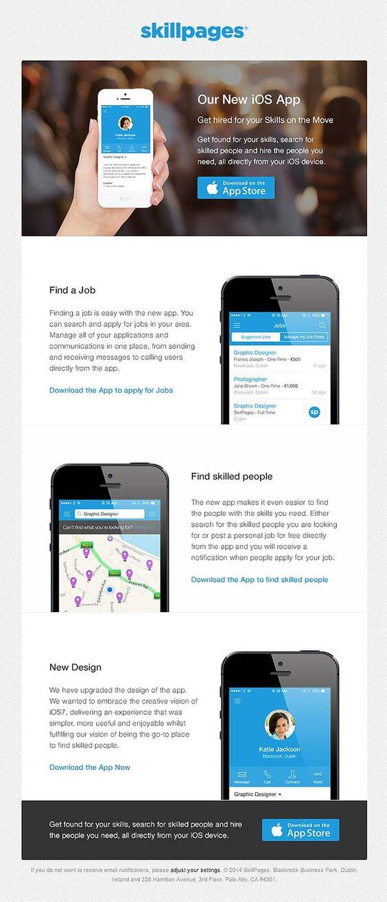 new iOS app release email example