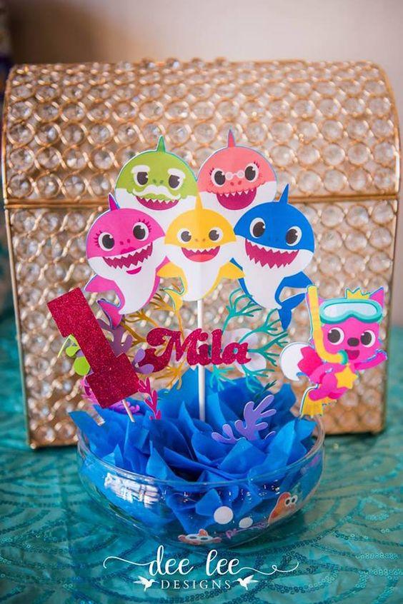 Baby Shark Centerpiece - Baby Shark Party Ideas