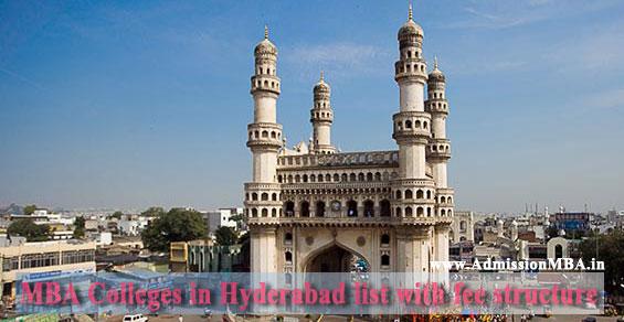 list of MBA Hyderabad fee