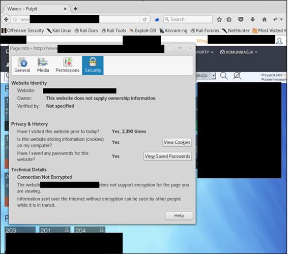 Widok na komunikat o braku szyfrowania z przeglądarki Firefox