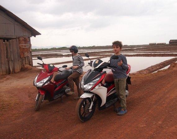 Hiring scooters Kep Cambodia Kampot salt