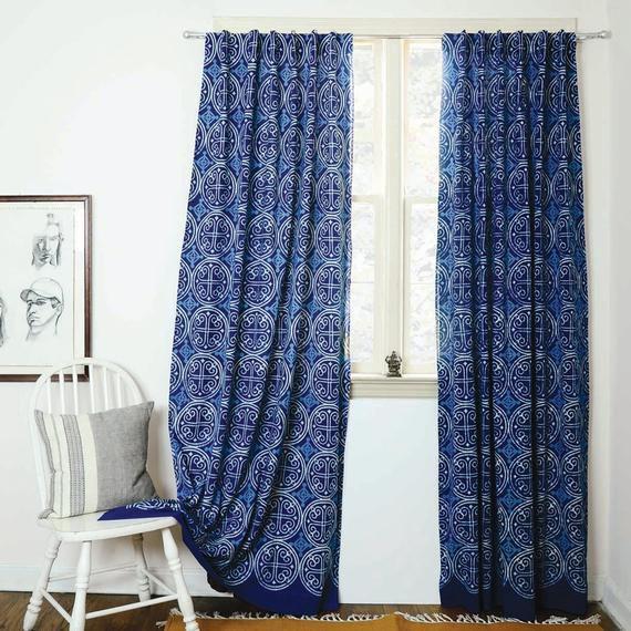 blue kitchen window treatment