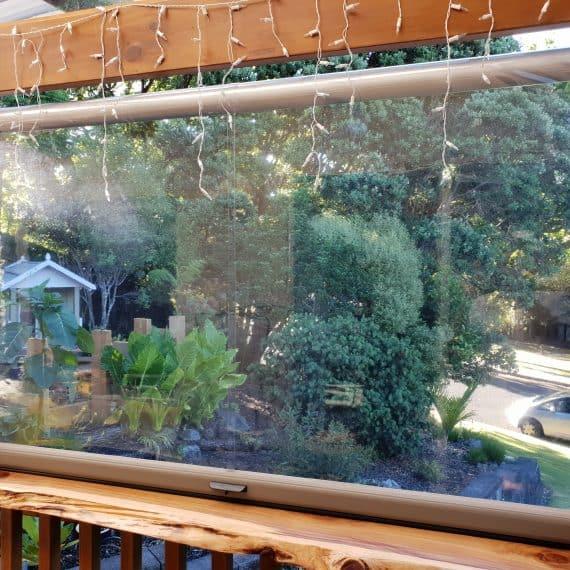 Clear PVC Ziptrak screens in Whangaparaoa
