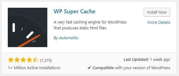 Screenshot of WP Super Cache plugin