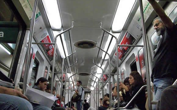 The interior of a buenos aires subway car