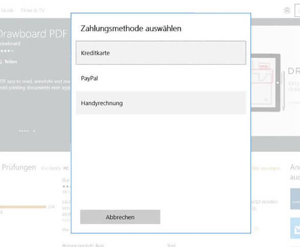 Windows Store - Handyrechnung als neue Zahlungsmethode
