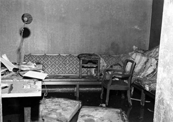 Debris inside Adolf Hitler's command bunker