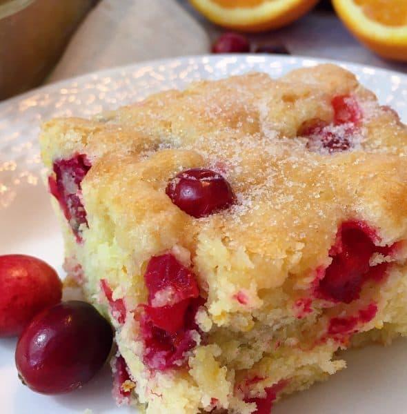 Slice of Cranberry Orange Coffee Cake