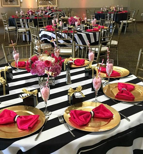 Kate Spade Birthday Table Setting via Pretty My Party