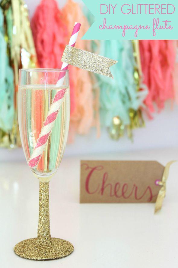 DIY Glittered Champagne Flutes - DIY Bachelorette Party Idea