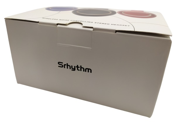 Images shows a white box. On the front the text Srhythm is visible.