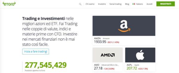 Investire online su azioni Amazon con eToro