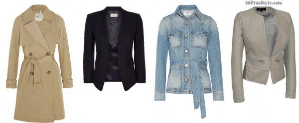 Inverted triangle body shape trenchcoat blazer jackets spring looks | 40plusstyle.com