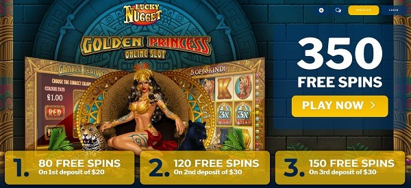 Exclusive Promotion 350 free spins on Golden Princess!