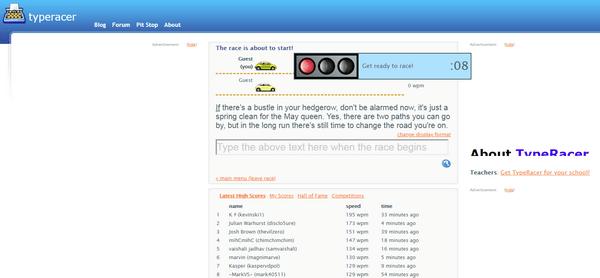 TypeRacer: клавиатурный тренажер для повышения скорости печати на английском