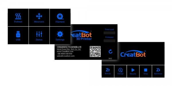 3D принтер CreatBot DE екран