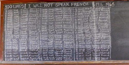 Chalk board representing louisiana's anti-french campaign